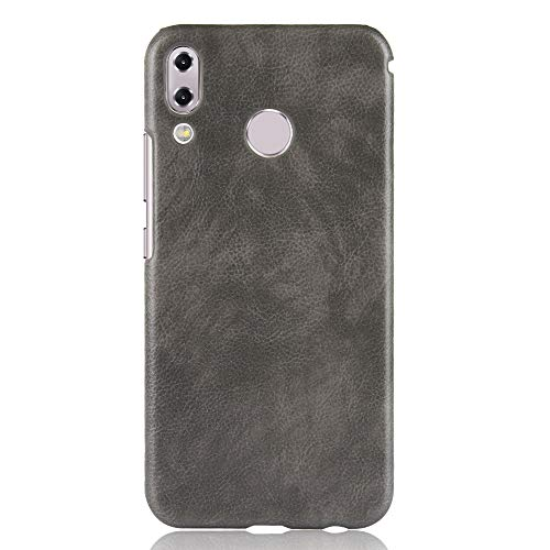 Zl one compatível com/substituição para Asus Zenfone 5z ZS620KL capa traseira de couro PU (cinza)