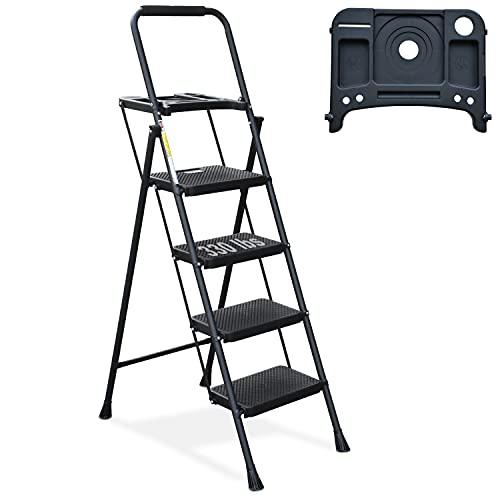 4 Step Ladder, HBTower Folding Step Stool with Tool Platform, Wide Anti-Slip Pedal, Sturdy Steel Ladder, Convenient Handgrip, Lightweight 330lbs Portable Steel Step Stool, Black