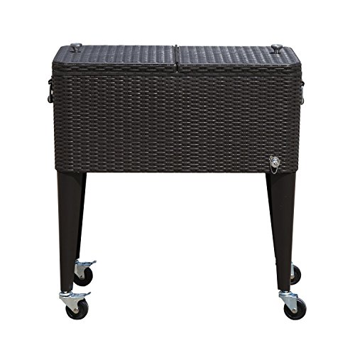 Outsunny 80 QT Rolling Cooler Ice Chest on Wheels Outdoor Stand Up Drink Cooler Cart for Party, Dark Brown Wicker