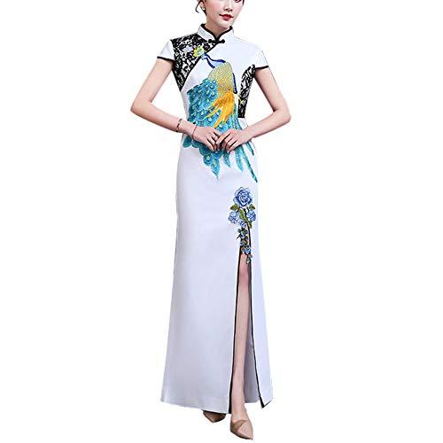 YCLOTH vrouwen Maxi jurk, chique 3D Phoenix patroon Cheongsam Qipao, avond Cocktail partij bruiloft dagelijks - pet mouw/standaard kraag stijlnaam Small Kleur: wit