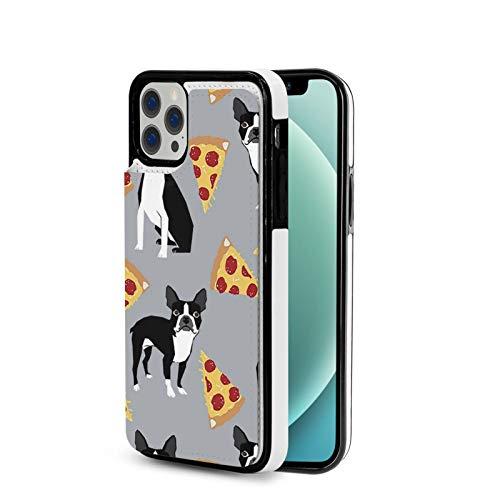 KAIXIN Funda para iPhone 12, diseño de pizza de Boston Terrier, color gris