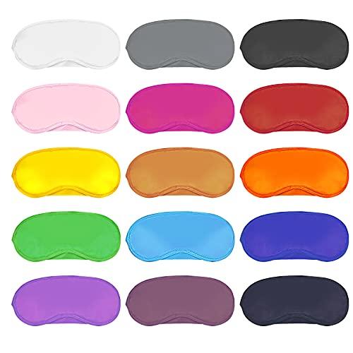 Dreamtop 15 Stück Bunte Schlafmasken Augenbinde Schlaf Augenmaske mit Nasenpolster Schlaf Augenklappe, mehrfarbig für Frauen Männer Kinder Reisen Schlaf, 15 Farben