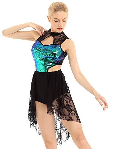iEFiEL Donna Vestito da Balletto Abito da Ballo Moderno Jazz Leotard da Danza Classica Ragazza Body da Ginnastica con Paillettes Dancewear per Competizione Performance Nero M