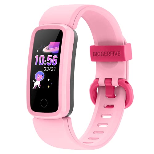 BIGGERFIVE Fitness Tracker Watch for Kids Girls Boys Teens, Activity Tracker, Pedometer, Heart Rate Sleep Monitor, IP68 Waterproof Calorie Step Counter Watch with Alarm Clock, Great Kids Gift (Pink)