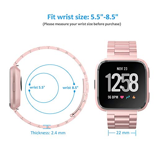 Hianjoo Strap Compatible with Fit Bit Versa/Versa Lite/Versa 2, Solid Stainless Steel Metal Wristband with Durable Folding Clasp Replacement for Fit Bit Versa/Versa Lite/Versa 2 - Rose Pink