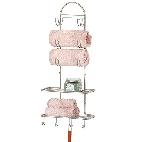 mDesign Sistema de almacenaje con 2 baldas y 10 ganchos – Estante de pared en metal para organizar el baño, la cocina o el pasillo – Útil organizador de baño para productos de belleza – plateado mate