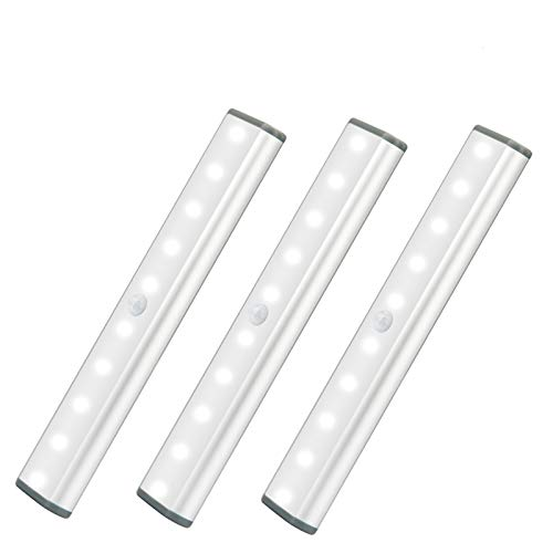 LED Motion Sensor Cabinet Light,Under Counter Closet Lighting, Wireless USB Rechargeable 10-LED Kitchen Lights,Battery Powered Operated Light, Stick On Lights for Wardrobe,Cabinet,Cupboard (3Pack)