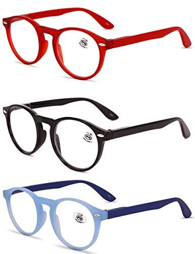 VEVESMUNDO® Lesebrillen Damen Herren Retro Runde Lesehilfe Sehhilfe Arbeitsplatzbrille Nerdbrille Hornbrille mit Stärke Schwarz Leopard Blau Rot Brau (3 Stück Lesebrillen(Rot+Schwarz+Blau), 2.0)