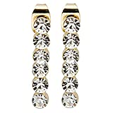 #N/D Pendientes giratorios de una sola fila de diamantes delicados y elegantes pendientes colgantes para mujer