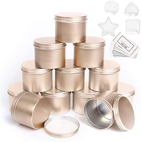 Metal Candle Tin 12 Pcs, 4.2 oz, Round Aluminium Candle Jars Empty Containers with Screw Lids for DIY Candle Making, with 4 Plastic Candle Making Cup
