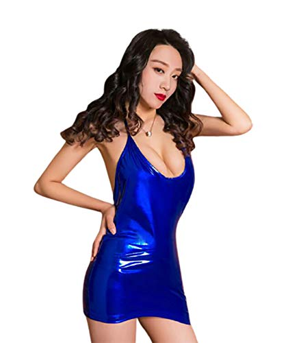 UELEGANS Women Wetlook Mini Dress Dress Deep V Low Breasts Backless Leather Varnish Allure V-Neck Stretch Clubwear Party Dress Patent Leather,Blue