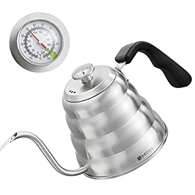 Pour Over Coffee Kettle with Thermometer for Exact Temperature 40 fl oz - Premium Stainless Steel Gooseneck Kettle for Drip Coffee, French Press and Tea - Works on Stove and Any Heat Source