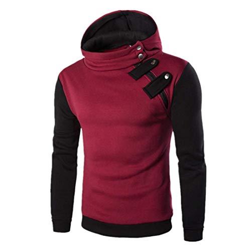 Sweatshirt Herren Hoodie Herren Langarm Slim Patchwork Baumwollmischung Komfortable Herren Sweatshirt Herbst All-Match Outdoor-Wandersportart Herren Hoodie Red. L