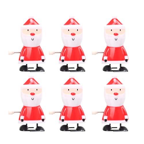 Tomaibaby 6 Stücke Weihnachten Aufziehspielzeug Weihnachtsmann Figur Nikolaus Dekofigur Aufziehfigur Deko Figuren Geschenk für Kinder Baby Wind Up Uhrwerk Spielzeug