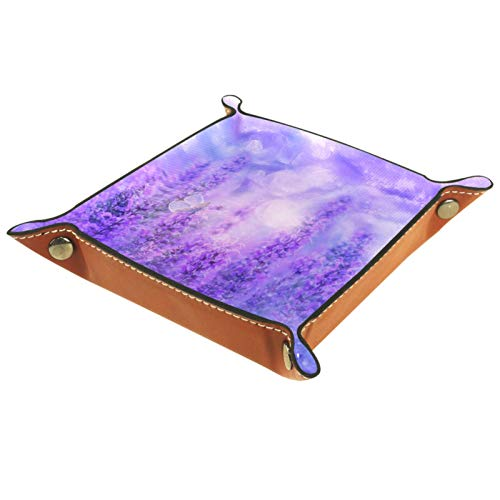 Mapotofux Women Girls Leather Square Dish Trinket Plate Jewelry Dice Tray, Fantasy Purple Lavender and Butterfly Dish Ring Holder Mothers Day Birthday Gift