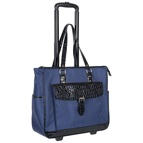 Heritage Travelware Women's Lake View Nylon Twill 2-Wheeled 17' Laptop & Tablet Business Tote Carry-On, Navy
