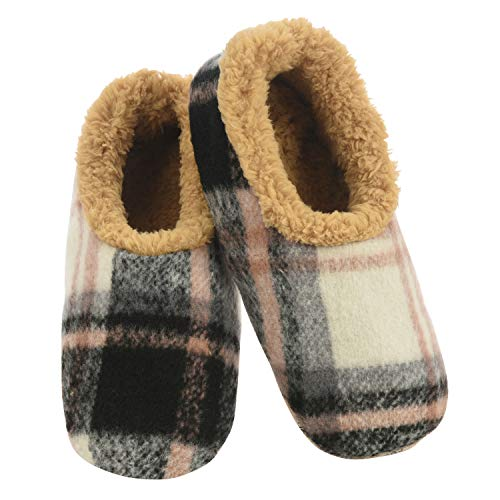 Snoozies Mens Slippers - Plush Plaids - House Slippers for Men - Black & Camel - X-Large