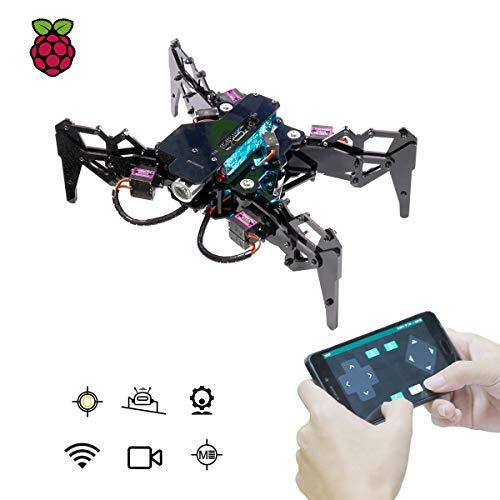 Adeept Spider Robot Quadruped Robot Kit für Raspberry Pi 4/3 Modell B+/B STEM-Kriechroboter OpenCV Tracking Selbststabilisierung mit MPU6050 Gyro Sensor Darkpaw Bionic Raspberry Pi Robot & PDF
