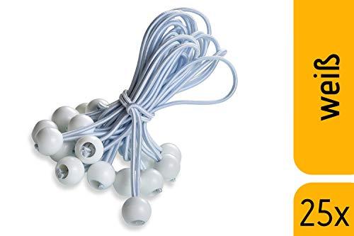 fuxton 25 Profi Spanngummis mit Kugel (weiß 195 mm) für Zelte, Planen, Pavillons. Planenspanner, Expanderschlingen, Planenhalter, Planengummi, Gummispanner, Zeltgummi