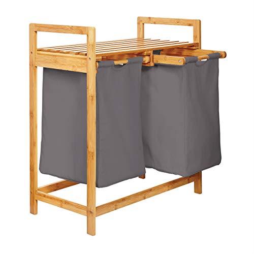 Lumaland Wäschekorb aus Bambus mit 2 ausziehbaren Wäschesäcken 73 x 64 x 33 cm Dunkelgrau