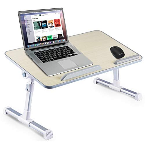 Bed Desk for Laptop Foldable Adjustable Bed Tray for Work from Home Portable Table for Eating/Gaming/Reading, Multifunctional Lap Stand (Wood, 11.8 X 20.4 Inch)