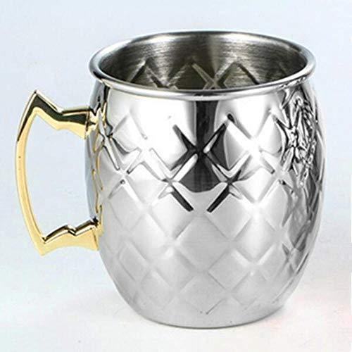 Mug Tazas Cafe Reutilizable,Taza De Cerveza Creativa En Forma De Tambor Copa De Cóctel De Acero Inoxidable 304 Copa Chapada En Cobre Escorpión De Moscú Copa De Vino Rusa, Estilo Plateado
