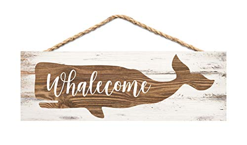 P. Graham Dunn Welcome Whale Natural Brown 10 x 4 Pine Wood Hanging Décor String Sign
