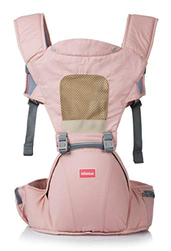 INFANTSO 4-in-1 Adjustable Hip SEAT Baby Carrier Soft & Comfortable with Safety Belt, Multi-Utility Pockets & Wide Cushioned Straps (Pink)