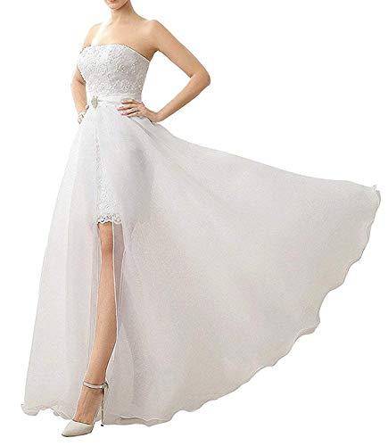 Damen Spitze Appliques Tüll Brautkleid mit abnehmbarem Rock Hochzeitskleid Brautkleider Prinzessin Standesamt
