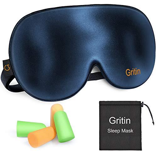 Gritin Schlafmaske, Augenmaske Nachtmaske Verstellbarem Gummiband 100% Hautfreundlich Seide Geruchneutral Schlafbrille mit Ohrstöpseln und Tragbare Tasche