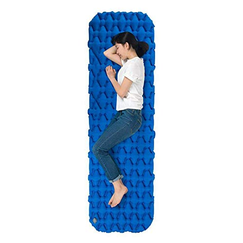 Isomatte Faltbare Einzelperson Selbstaufblasende kampierende Schlafenauflagen TPU Ultralight kompakte im Freien aufblasbare starke Schaum-Schlafmatte ( Farbe : Blau , Größe : 76.7*23.2*2.56inches )