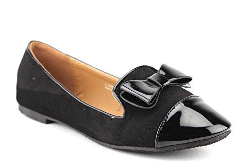 J'aime Aldo Women's Lory-2 Patent Leather Pointy Toe Slip On Smoking Flats Shoes, Black, 8.5