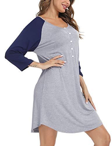 Sykooria Vestido de Lactancia para Mujer Camisón de Lactancia Camisón de Maternidad Camisón de Trabajo para el Hospital y el hogar