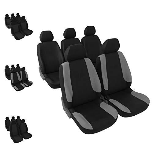 DBS 1012724 autostoelhoezen, 5 aparte stoelen, zwart + grijs, voor- en achterkant, universeel, antislip, afwasbaar