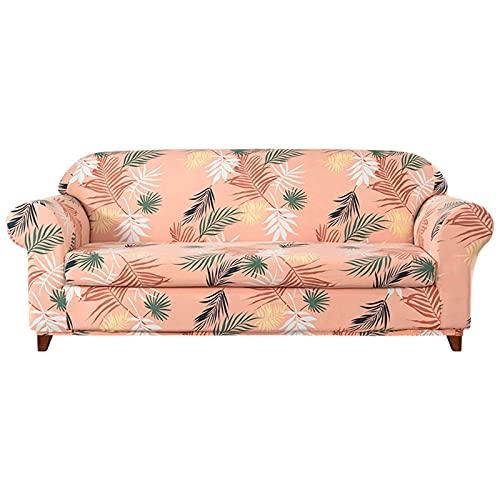DFJU Stretch Sofabezug, 2 Stück bedruckter Couchbezug mit Sitzkissenbezug Möbelschutz mit elastischem Boden Rutschfester strapazierfähiger waschbarer Sofabezug für Wohnzimmer-3 Sitzer-Orange