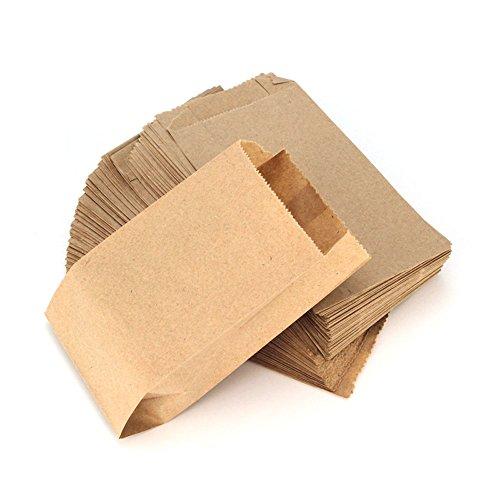 RUBY - 100 PCS Kraft Brown Papiertüte, Geschenktüten/Partytüten/Adventskalender/Weihnachten/Hochzeiten/Geburtstagsfeiern/Märkte/DIY (8cm x 15cm, 100 Units)