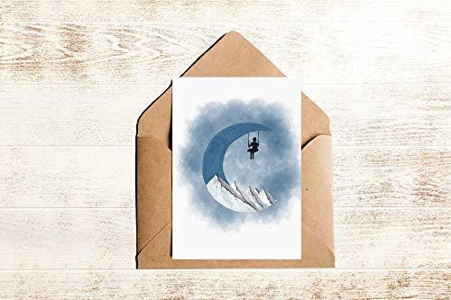 Postkarte Mond   Fantasie Postkarte Traum mit Mond Bergen und Schaukel