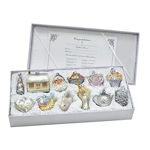 Kurt Adler 3 to 4.375-Inch Glass Bridal Ornament, 12 Piece Set, Multi-Color