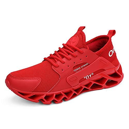 WateLves Herren Laufschuhe Fitness straßenlaufschuhe Sneaker Sportschuhe atmungsaktiv rutschfeste Mode Freizeitschuhe(Rot,42)