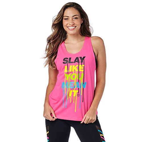 Zumba Fitness- mit Grafikdruck Activewear Loses Workout Tank Top, Shocking Pink A, Small