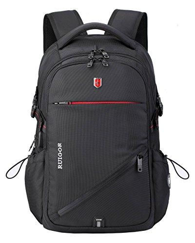 Swiss Ruigor Laptop-Rucksack, wasserabweisend, für Pendler, Schule, Allzweck-Rucksack für Damen und Herren, geeignet für Laptops bis zu 15,6 Zoll (39,6 cm), Schwarz