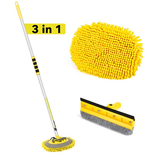 3 in 1 Car Wash Brush Kits with Aluminum Long Handle, Car Wash Mop Windshield Squeegee Car Cleaning Mop Duster Chenille Microfiber Wash Mop Mitt Scratch Free 180°Rotation for Cleaning Car Truck RV