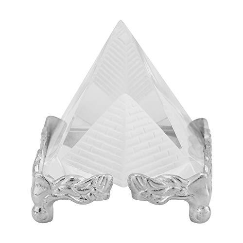 HEEPDD Kristal piramide, creatieve kristallen piramide kwarts stenen snijwerk figuur decoratie kristal heldere piramide gesneden kristal heillpyramide beeld met sokkel 40mm