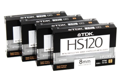 New 8mm Metal Particle Cassette Tape TDK HS120 120 Minute Blank Camcorder 4 Pack Hi8 and Digital 8 Compatible