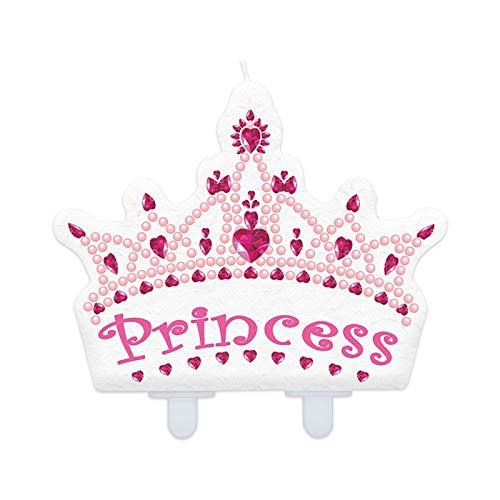Big Party- Candelina Sagomata Princess Coroncina, Colore Bianco e Rosa, 73585
