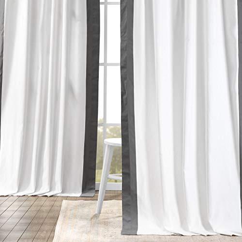 HPD Half Price Drapes PRCT-VC1714-108 Vertical Colorblock Panama Curtain (1 Panel), 50 X 108, Fresh Popcorn and Millstone Grey