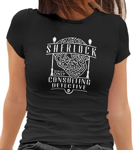 Camiseta Baby Look Sherlock Holmes Feminino Preto Tamanho:GG