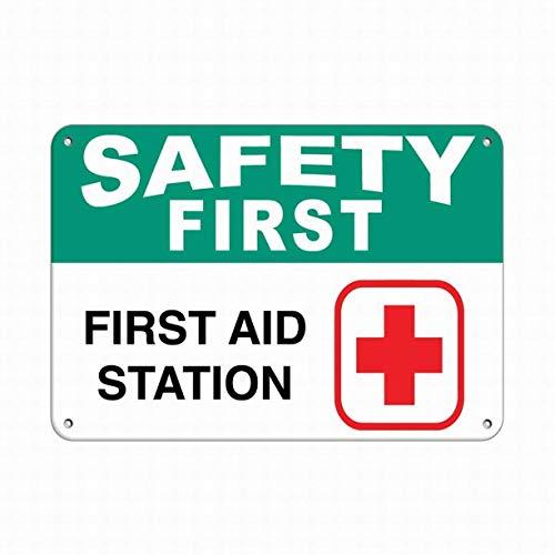2158 Jesiceny Blechschild Sicherheit Erste Hilfe Station Gefahrenschild Sicherheitssprüche Sicherheit Aluminium Metallschild für Wanddekoration 20,3 x 30,5 cm