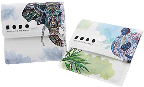 Xhuan 2 Taschen Aschenbecher graue Taschen - feuerfestes PVC - geruchsfrei - tragbar kompakt - einzigartig designtes Panda und großes Elefantenmuster