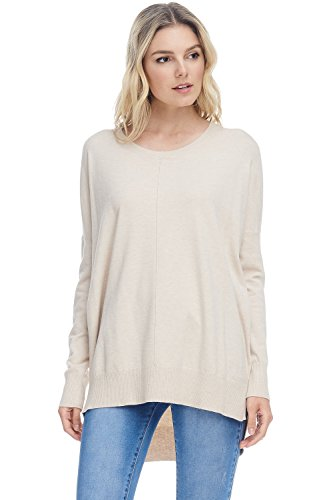 Alexander + David Damen Casual Oversized Rundhals-Pullover Boyfriend-Pullover, leicht, mit Hi-Low - Beige - Small/Medium